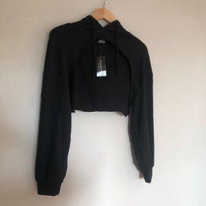 Fashion Nova Black Crop top hoodie